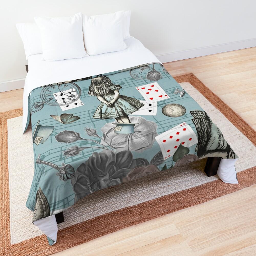Alice In Wonderland Collage - Vintage Blue Comforter