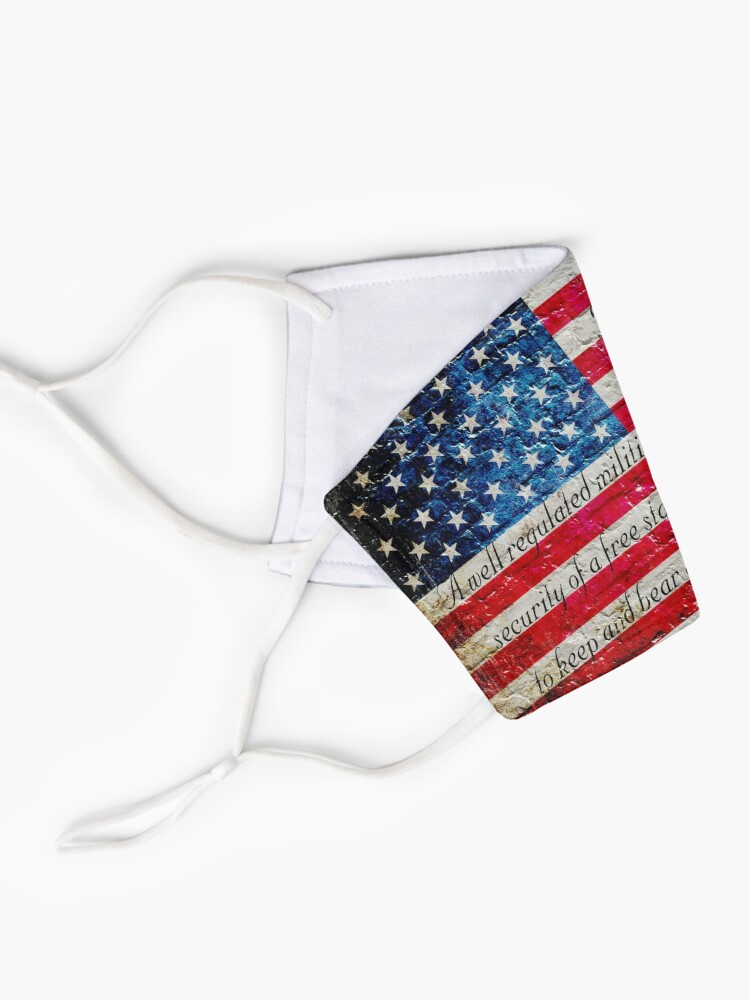 Alternate view of Distressed American Flag And Second Amendment On White Bricks Wall Mask