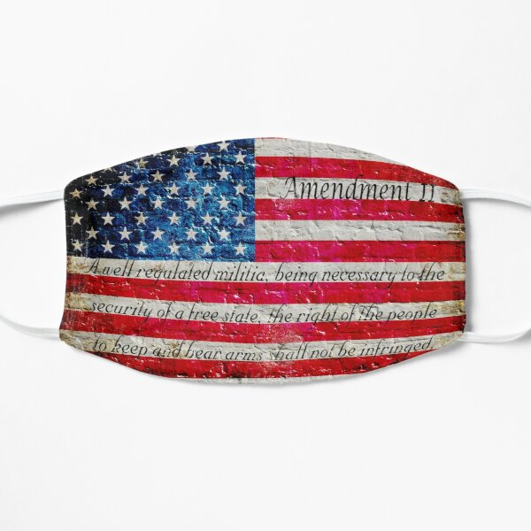 Distressed American Flag And Second Amendment On White Bricks Wall Mask