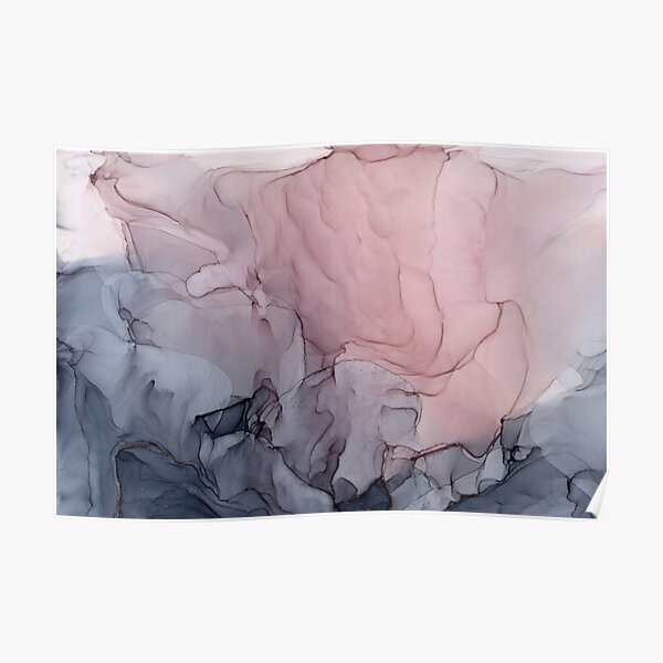 Blush and Gray Flowing Ombre Abstract 1 Poster
