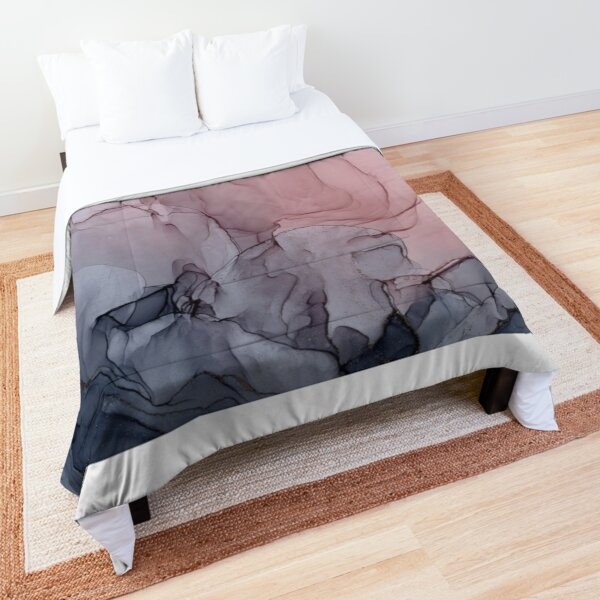 Blush and Gray Flowing Ombre Abstract 1 Comforter