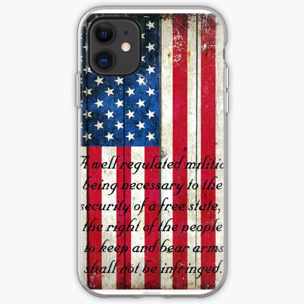 Vintage American Flag And 2nd Amendment On Old Wood Planks iPhone Soft Case