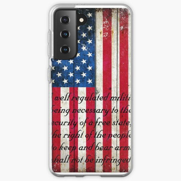Vintage American Flag And 2nd Amendment On Old Wood Planks Samsung Galaxy Soft Case