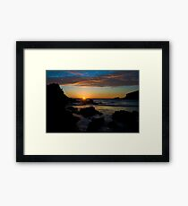Porth Beach, Newquay, Cornwall, Rocks at sunset. Framed Print
