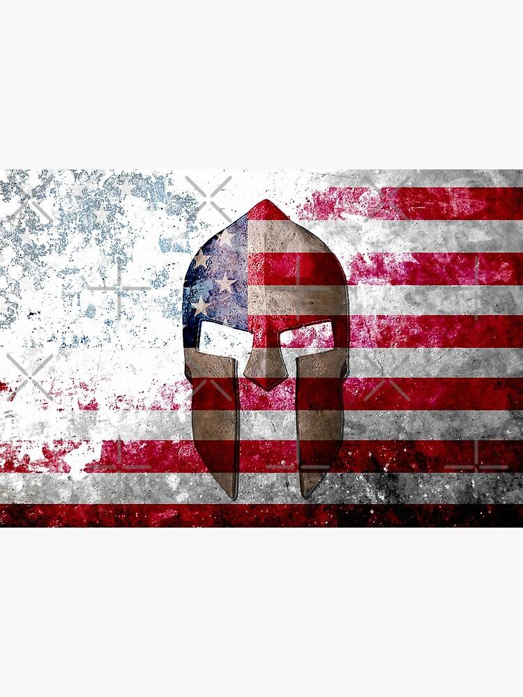 Molon Labe - Spartan Helmet Across An American Flag On Distressed Metal Sheet by MolonLabeArt