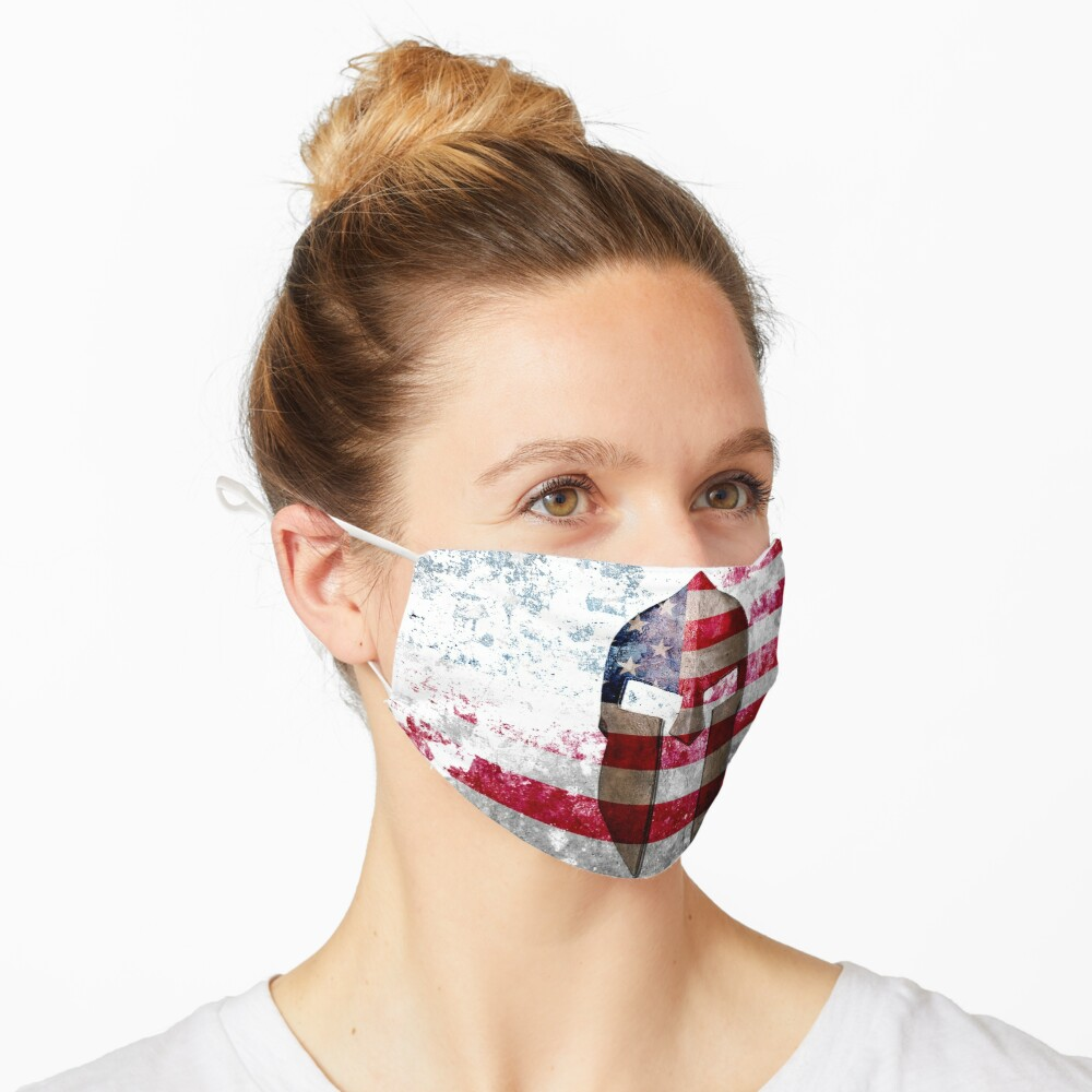 Molon Labe - Spartan Helmet Across An American Flag On Distressed Metal Sheet Mask