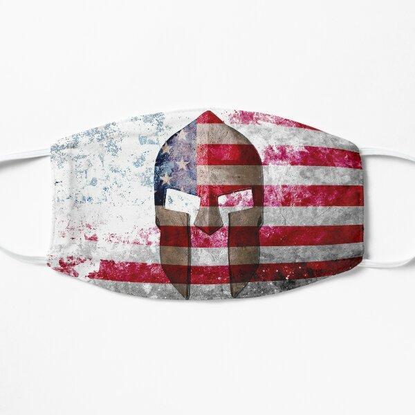 Molon Labe - Spartan Helmet Across An American Flag On Distressed Metal Sheet Flat Mask
