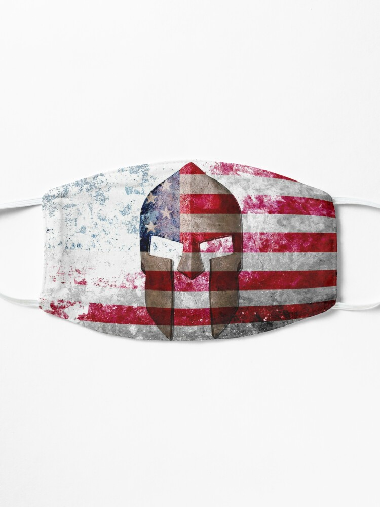 Alternate view of Molon Labe - Spartan Helmet Across An American Flag On Distressed Metal Sheet Mask