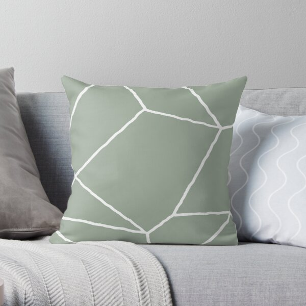 Geometric Sage Green Throw Pillow Throw Pillow