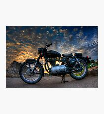 Enfield Bullet 500cc motorcycle at sunset.  Photographic Print
