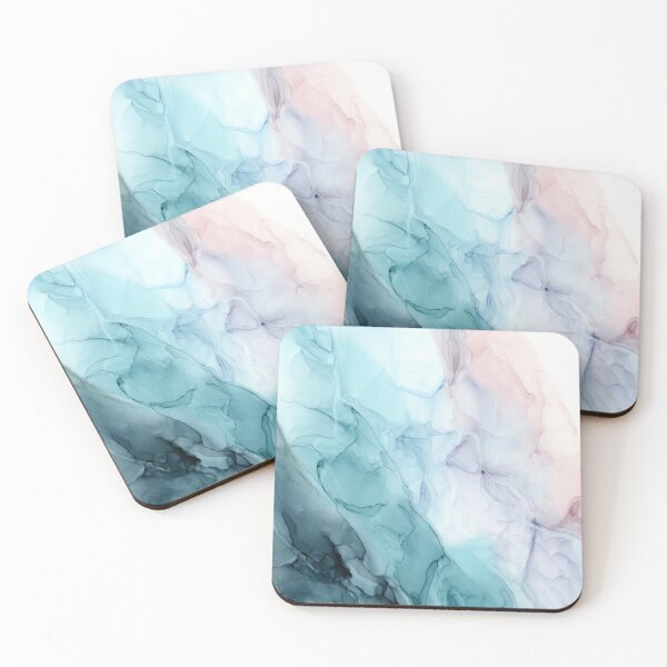 Beachy Pastel Flowing Ombre Abstract 1 Coasters (Set of 4)