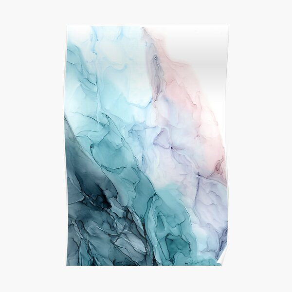 Beachy Pastel Flowing Ombre Abstract 1 Poster