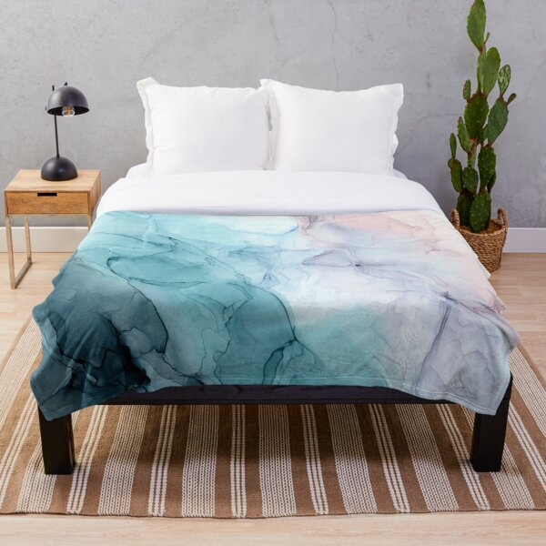 Beachy Pastel Flowing Ombre Abstract 1 Throw Blanket