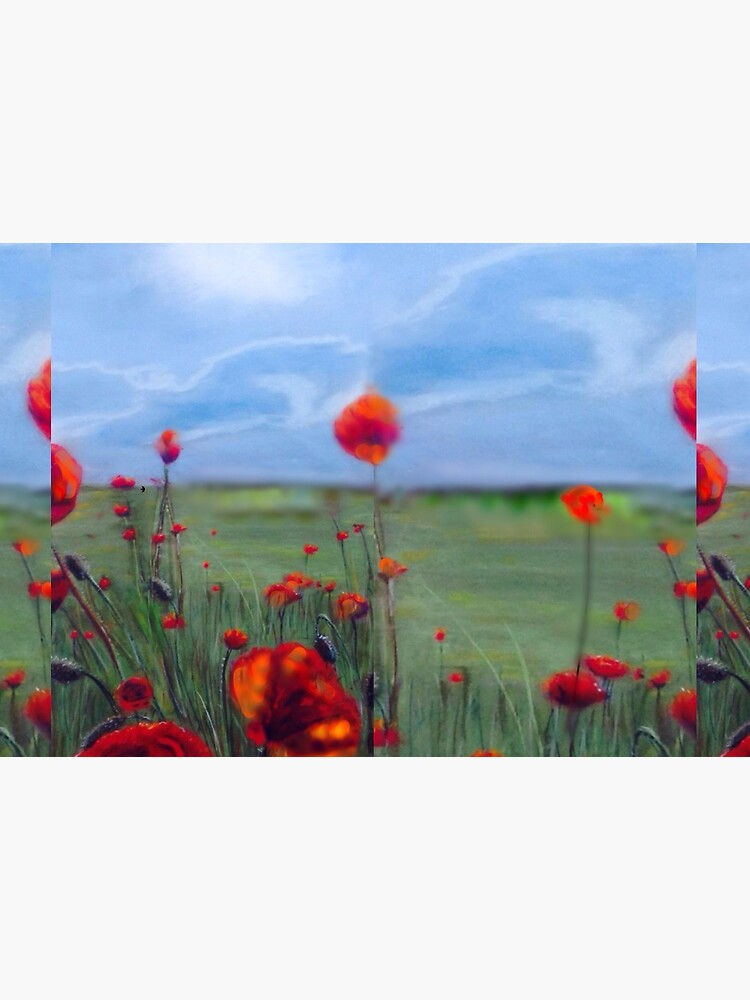 Poppy field painting Lest we forget by Julieford