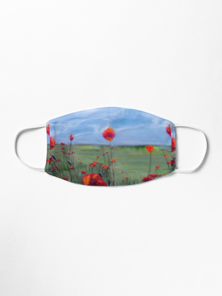 Alternate view of Poppy field painting Lest we forget Mask