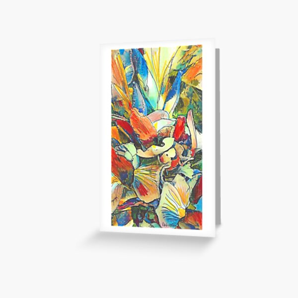 Iris Floral Abstract Design- Flower Picture Greeting Card