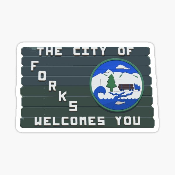 forks washington sign twilight Sticker