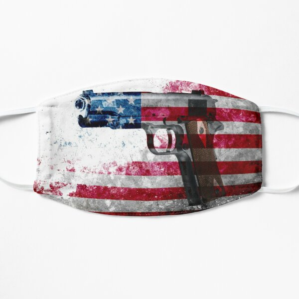 M1911 Colt 45 And American Flag On Distressed Metal Sheet Flat Mask
