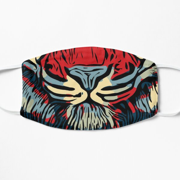 Tiger Head In Red And Blue Mask