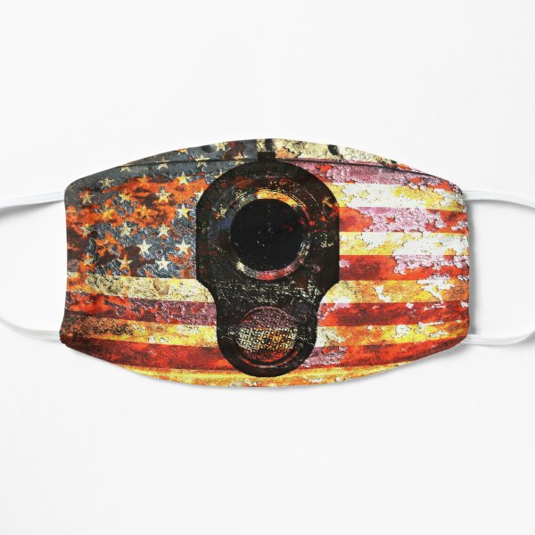 M1911 Colt 45 On Rusted American Flag Mask