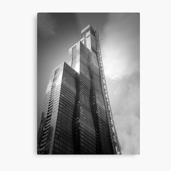 Chicago Skyscraper - Vista Tower Photograph in Black and White Metal Print