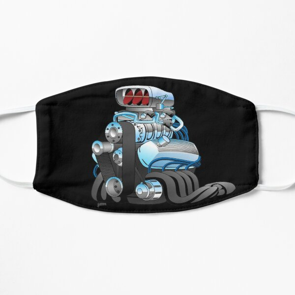 Hotrod Racing Car Engine Cartoon Illustration Flat Mask
