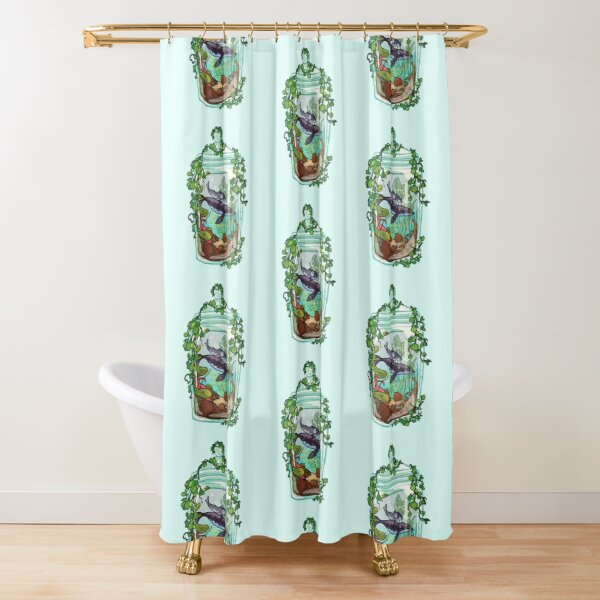 Whale Plant Terrarium Shower Curtain
