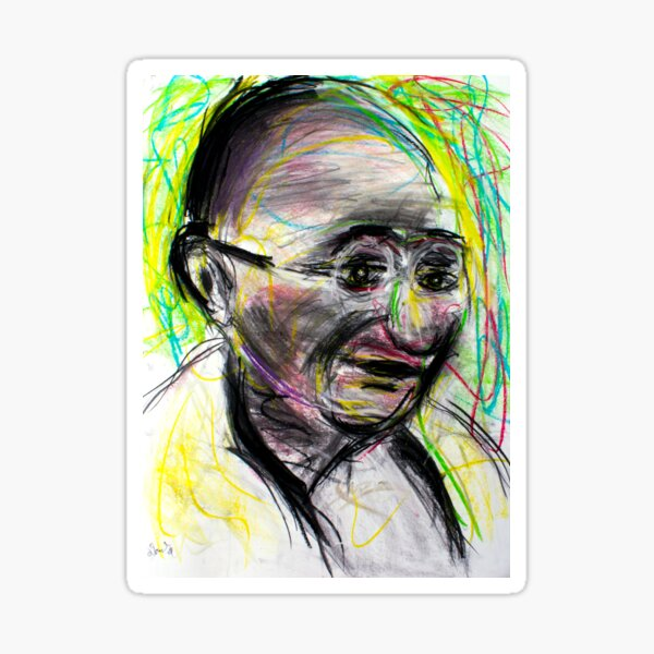 Gandhi with color Sticker
