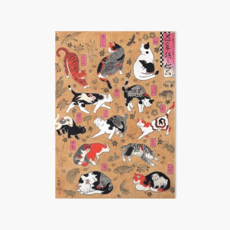 Antique Japanese Woodblock Print Cats with Tattoos ~ Cat Tattoo Flash Art Board Print