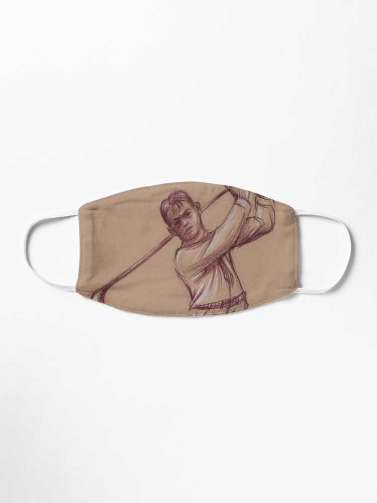 bobby jones pencil drawing of the legendary golfer mask by tranquilwaters redbubble