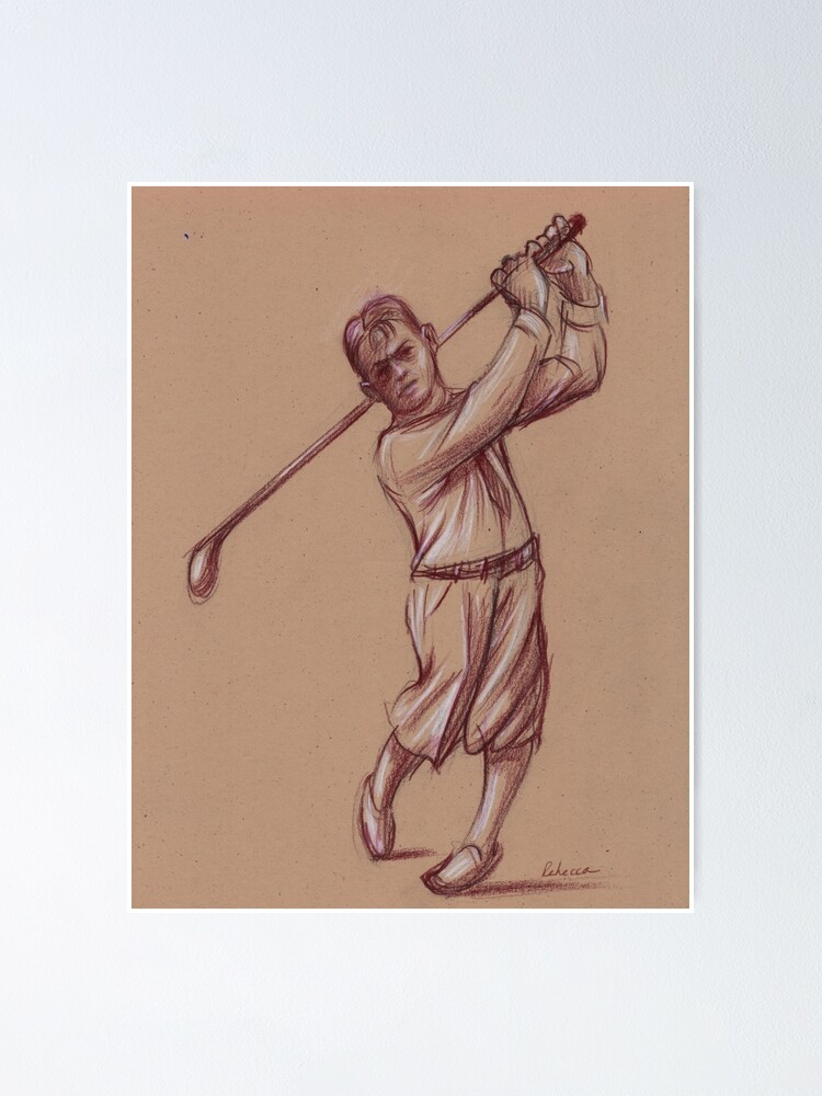 bobby jones pencil drawing of the legendary golfer poster by tranquilwaters redbubble