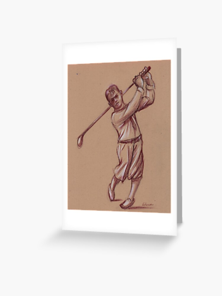bobby jones pencil drawing of the legendary golfer greeting card by tranquilwaters redbubble