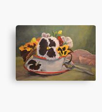 Tin Cup Pansy Tea Canvas Print