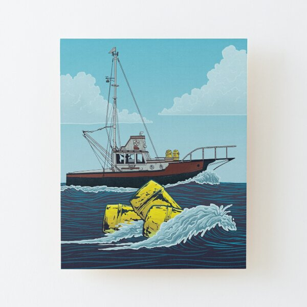 Jaws: The Orca Illustration Wood Mounted Print