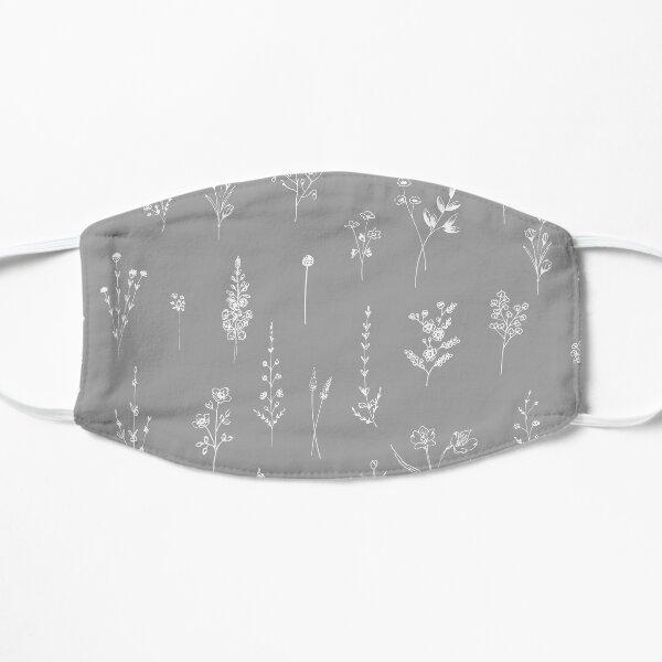 Gray Wildflowers Pattern Flat Mask