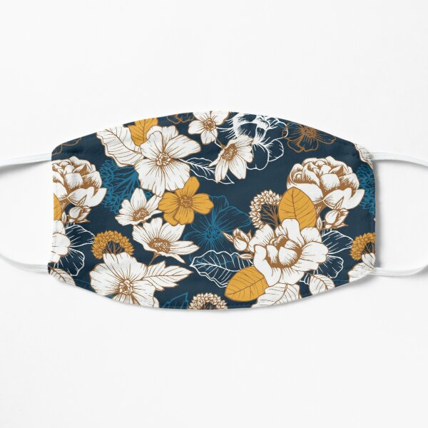 Navy and Gold Peony and Blossom Seamless Pattern Mask