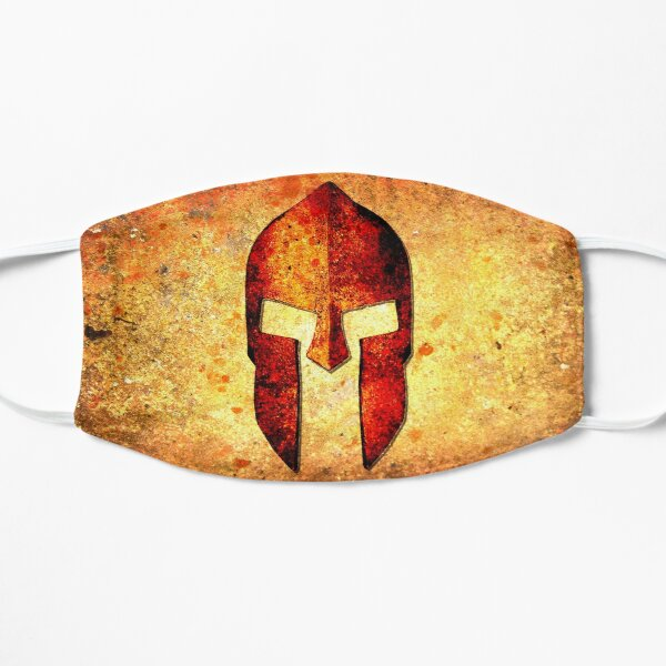 Spartan Helmet On Rust Background With A Color Burn Effect Mask
