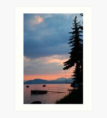 View of lake at sunset, Slovakia Art Print