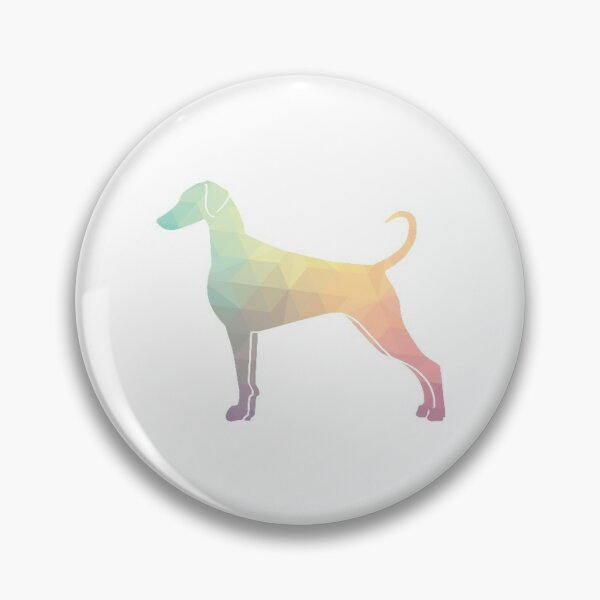 Doberman Pinscher Dog Breed Silhouette Filled with Geometric Pattern in Pastel Pin
