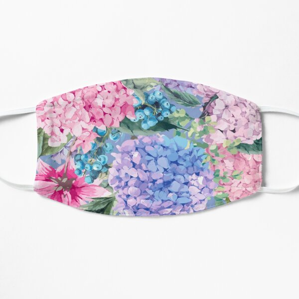 Summer watercolor vintage blooming hydrangea and garden flowers Mask