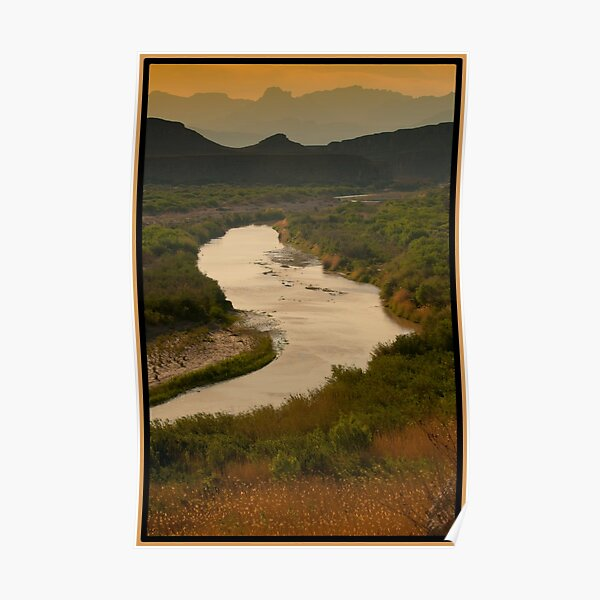 Rio Grande with Chisos Mountain in Distance Poster