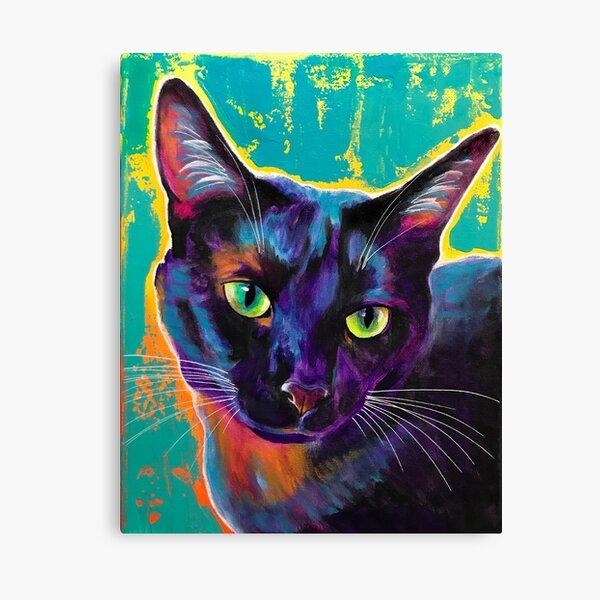 Midnight - Black Cat Purple and Green Art Canvas Print