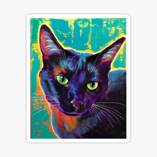 Midnight - Black Cat Purple and Green Art Sticker