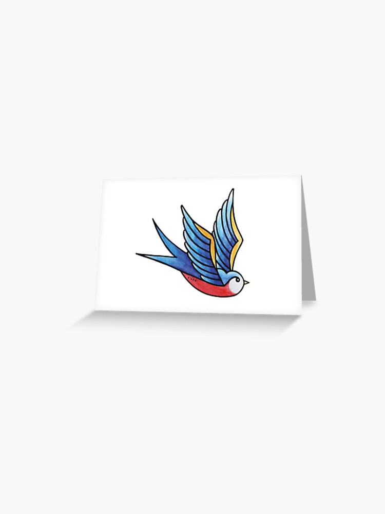 blue swallow tattoo greeting card by emeteneme redbubble redbubble