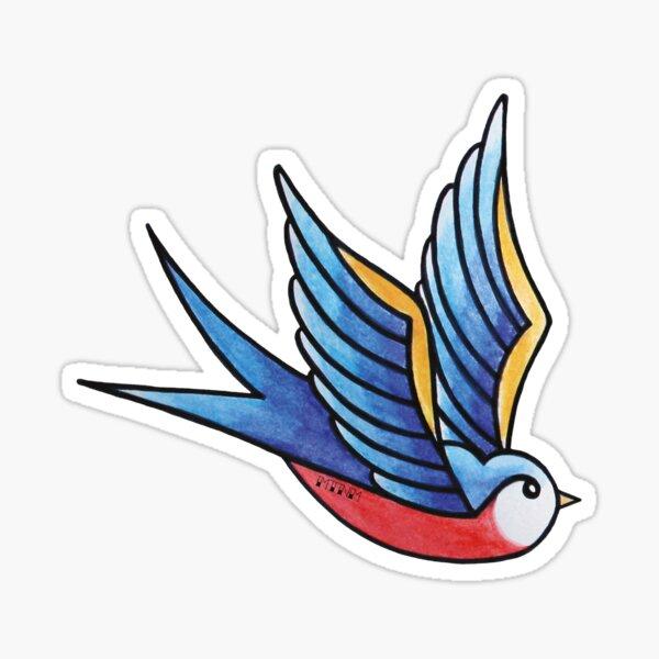 Blue swallow tattoo Sticker
