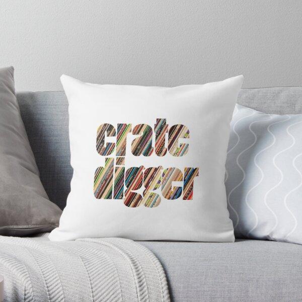Crate Digger Vinyl Records Throw Pillow