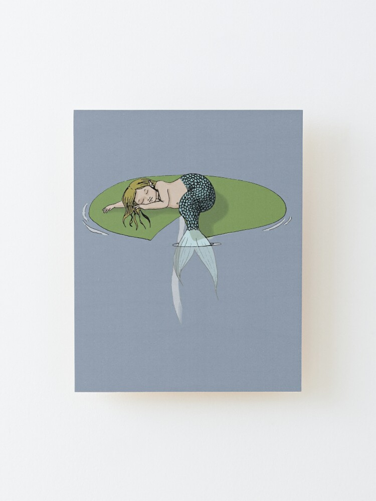 Alternate view of Sleeping Mermaid on a Lily Pad Mounted Print