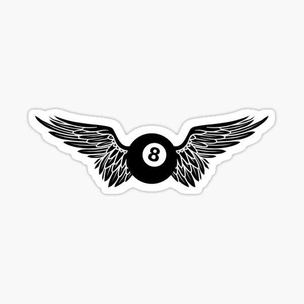 winged eight ball Sticker