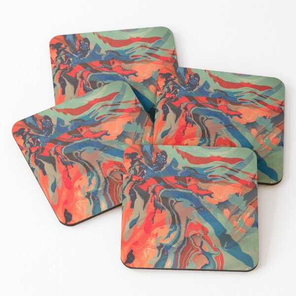 Red and Blue Acrylic Pour Coasters (Set of 4)