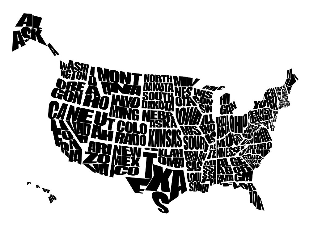 USA Text Map By Inkofme Redbubble - Poster map of usa